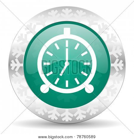 alarm green icon, christmas button, alarm clock sign