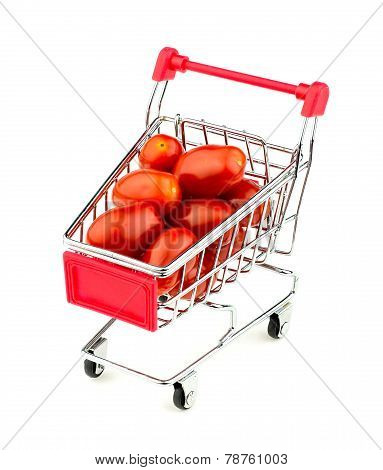 Shopping Cart With Huge Juicy Grape Tomatoes