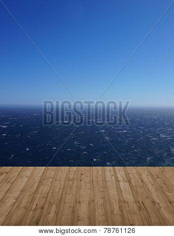 Footbridge and ocean