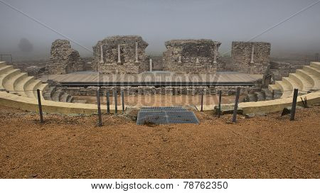 Roman Theater Of  Regina Under The Fog