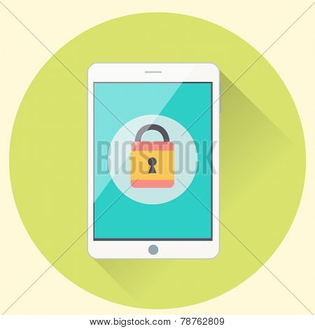 Tablet with password protected interface - flat icon style illustration on data protection