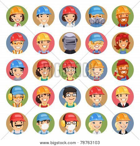 Builders Cartoon Characters Icons Set
