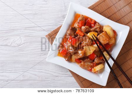 Asian Pork With Pineapple In Sweet And Sour Sauce. Top View