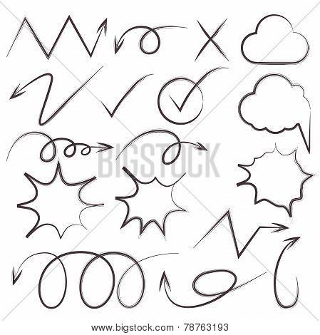 cartoon arrow and sketch bubble