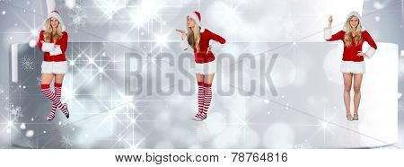 Pretty girl in santa outfit with arms crossed against lights twinkling in modern room
