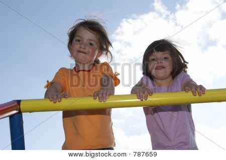 twins on climbing pole 03
