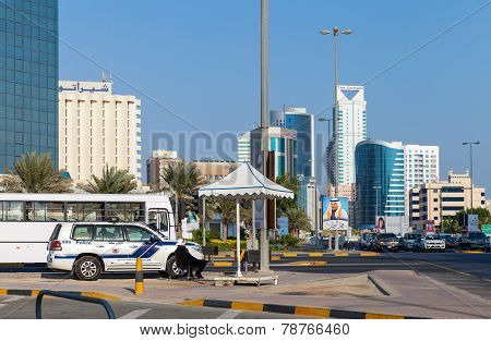 Police Car On The Srtreet Of Manama City, Bahrain Kingdom