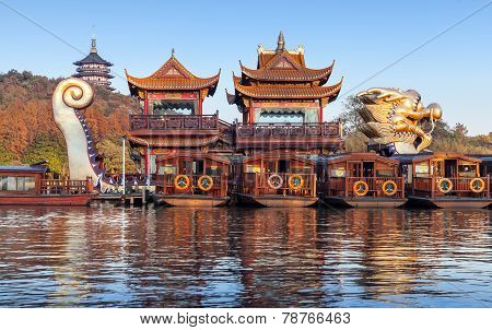 Chinese Wooden Pleasure Boats, West Lake, Hangzhou City