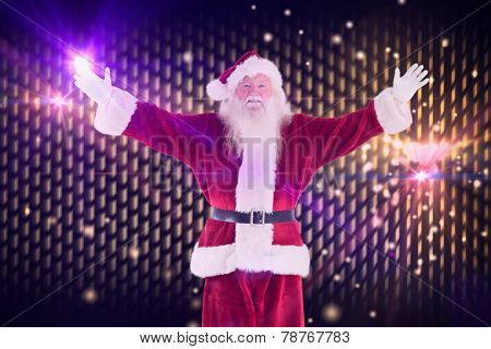 Jolly Santa opens his arms to camera against digitally generated cool nightlife background