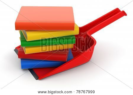 Dustpan and Books (clipping path included)