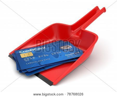 Dustpan and Credit Cards (clipping path included)