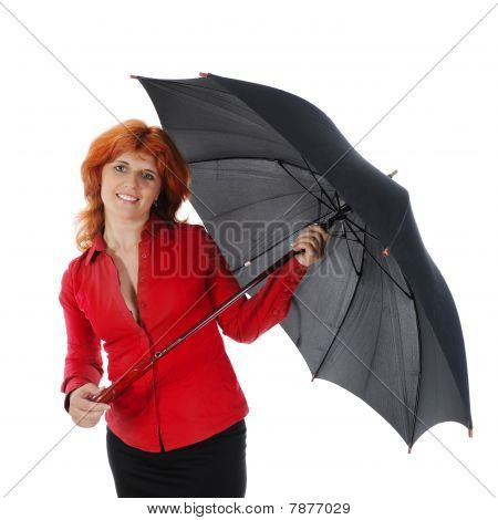Young Girl With An Umbrella.