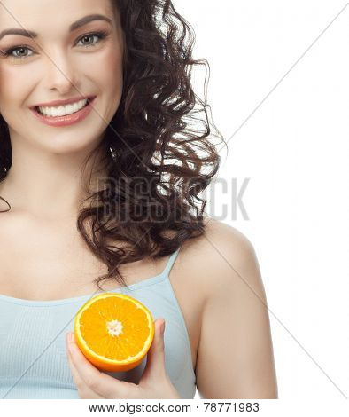 closeup portrait of attractive  caucasian smiling woman brunette isolated on white studio shot lips toothy smile face hair head and shoulders looking at camera tooth  orange