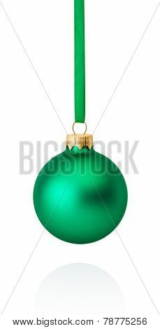 Green Christmas Ball Hanging On Ribbon Isolated On White Background
