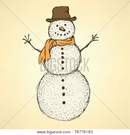 Sketch Christmas Snowman In Vintage Style