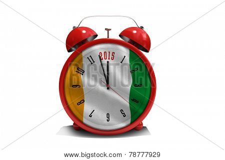 2015 in red alarm clock against ivory coast national flag