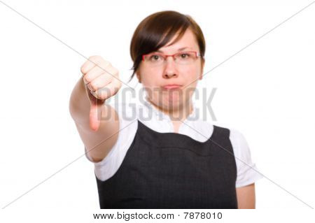 Young Businesswoman Shows Thumb Down Gesture, Negative Emotions, Isolated