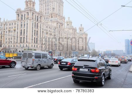 Moscow, Russia, November, 25, 2014: Cars stands in traffic jam on Kutuzovsky Prospekt