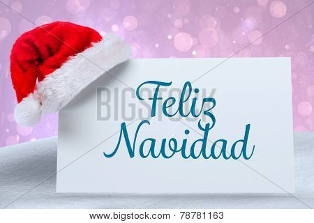 Feliz navidad against purple abstract light spot design