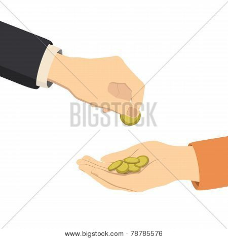 hands giving and receiving money, vector