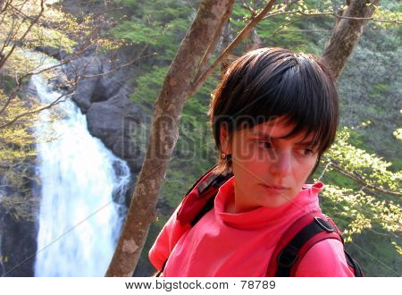 Girl, Forest And Waterfall