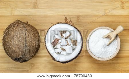 Coconut servings on Wooden Table