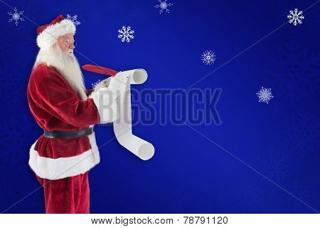 Father Christmas writes a list against blue snowflake background