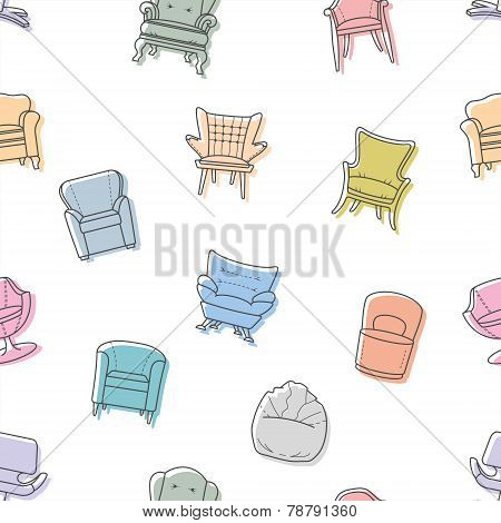 Seamless vector armchairs pattern