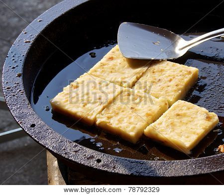 The pan-fried radish cake closeup