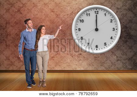 Full length of couple looking away against grimy room