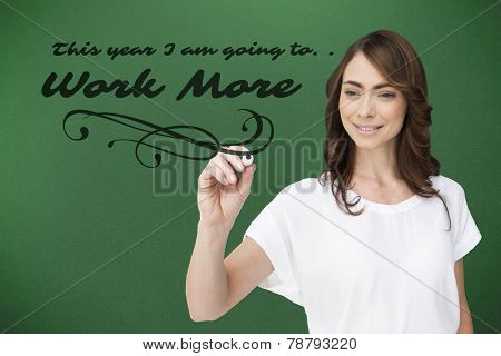 Smiling businesswoman holding marker against green background with vignette