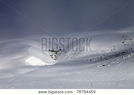 View On Off-piste Slope In Bad Weather
