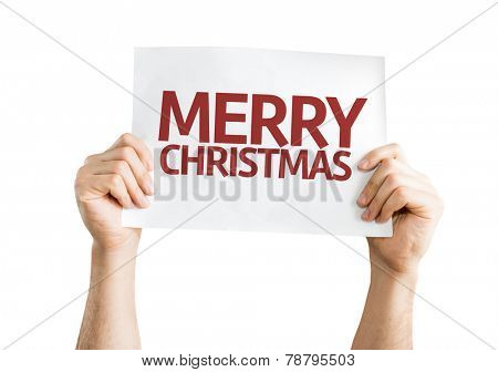 Merry Christmas card isolated on white background
