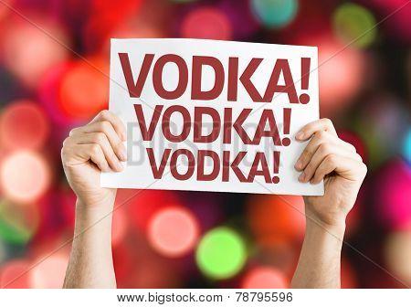 Vodka! Vodka! Vodka! card with colorful background with defocused lights