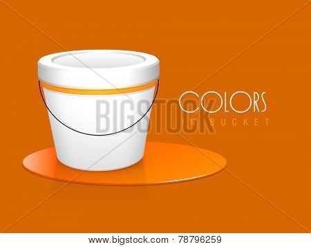 Close paint bucket with spilled orange color and stylish text of Colors In Bucket on orange background.