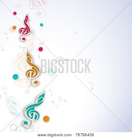 Colorful g-clef musical note on stylish background.