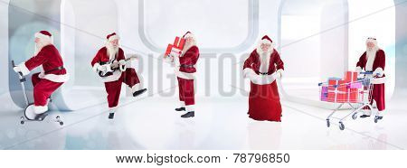 Composite image of different santas against lights twinkling in modern room