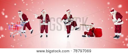 Composite image of different santas against white light dots on red