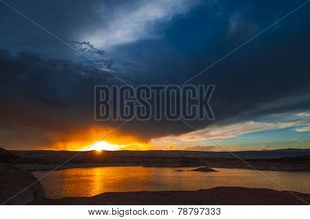 Lake Powell At Sunset Utah Landscape