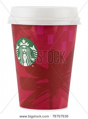 Ankara, Turkey - December 10, 2014:  New year concept of Starbucks disposable coffee cup isolated on white background