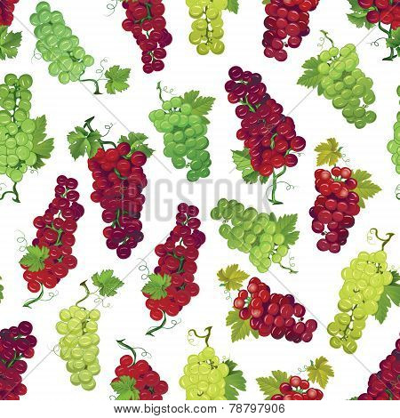 Red and green grapes seamless print