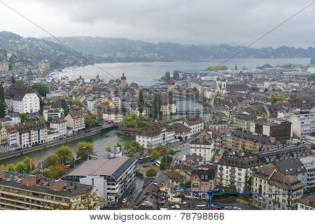 Lucern city on rainy day, Switzerland.