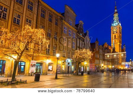 GDANSK, POLAND - DECEMBER 17,  2014: Historical city hall on the old town of Gdansk, Poland. Baroque architecture of the Long Lane is one of the most notable tourist attractions of the city.