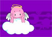 picture of baby pig  - baby pig angel cartoon background in vector format very easy to edit - JPG