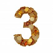 stock photo of golden coin  - 3d illustration of alphabet number digit three 3 with golden coins isolated on white background - JPG
