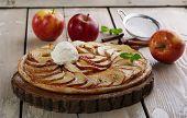 foto of cream puff  - Open apple pie puff pastry with ice cream - JPG