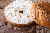 foto of sesame seed  - Bagel with cream cheese and sesame close - JPG