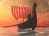 stock photo of raider  - A Viking longboat sails to new shores for trading and companionship - JPG