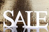 stock photo of year end sale  - Sale on golden background - JPG