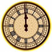 Постер, плакат: Big Ben Midnight Clock Face